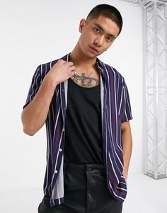Темно-синяя рубашка классического кроя из вискозы в полоску с прямоугольным воротником ASOS DESIGN-Темно-синий