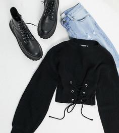 Черный джемпер со шнуровкой спереди Missguided Petite-Черный цвет
