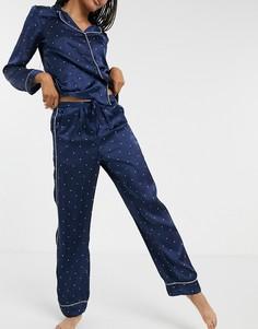 Темно-синяя атласная пижама в горошек Vero Moda-Темно-синий