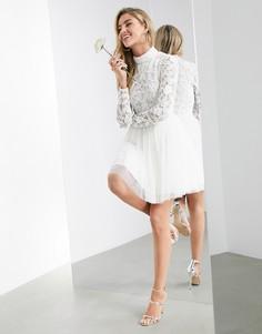 Свадебное платье мини с украшенным лифом и сетчатой юбкой ASOS EDITION Arabella-Белый