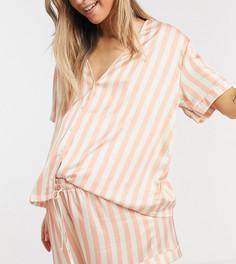 Атласная пижама из топа и шортов персикового цвета в полоску ASOS DESIGN Maternity-Розовый цвет