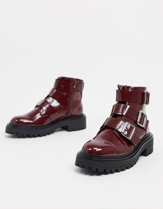 Бордовые байкерские ботинки ASOS DESIGN Awaken-Красный
