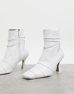 Белые кожаные ботинки на каблуке ASOS DESIGN Ryder-Белый