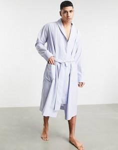 Халат из ткани в полоску от комплекта ASOS DESIGN-Голубой