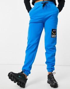 Ярко-синие джоггеры с накладкой-логотипом от комплекта Crooked Tongues-Голубой