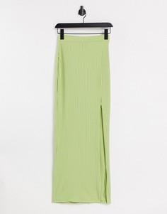 Облегающая юбка макси в рубчик с разрезом до бедра Another Reason-Зеленый цвет