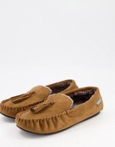 Светло-коричневые тапочки с отделкой под мокасины на подкладке из искусственного меха Dunlop-Светло-коричневый