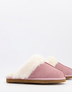 Розовые мюли-слиперы из овчины Redfoot-Розовый цвет