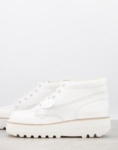 Белые кожаные ботинки на толстой платформе Kickers-Белый