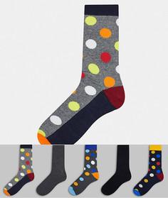 Набор из пяти пар разноцветных носков в горошек Jack & Jones-Зеленый цвет