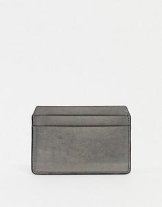 Кожаная визитница серебристого цвета с эффектом металлик ASOS DESIGN-Серебристый