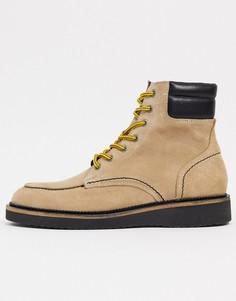 Замшевые походные ботинки премиум-класса песочного цвета с контрастными шнурками Selected Homme-Бежевый
