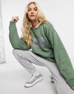 Свитшот в стиле oversized с винтажным принтом «meadow» Daisy Street-Зеленый цвет