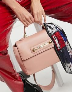 Светло-розовая сумка-портфель с шарфиком Love Moschino-Розовый