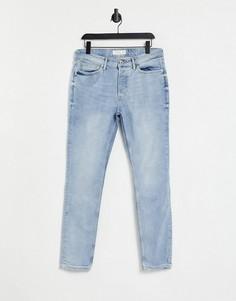 Светло-голубые выбеленные зауженные джинсы Topman-Голубой
