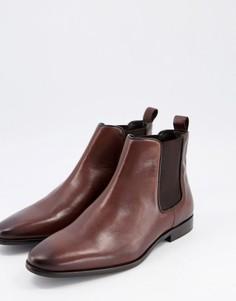 Коричневые кожаные ботинки челси Walk London-Коричневый цвет