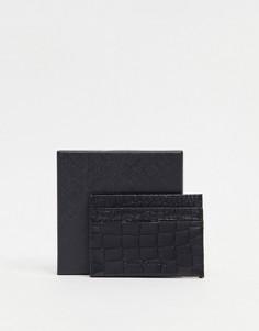Черная кредитница с крокодиловым принтом Smith & Canova-Черный цвет