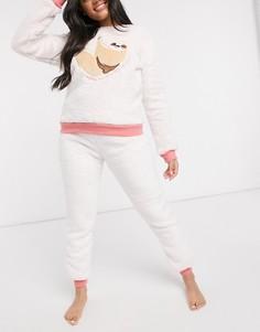 Флисовая пижама с принтом ленивца Chelsea Peers-Кремовый