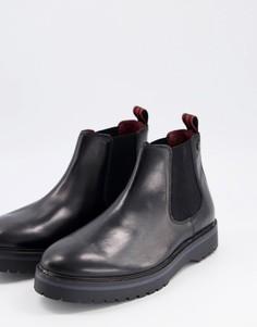 Черные кожаные ботинки челси на массивной подошве Base London-Черный цвет