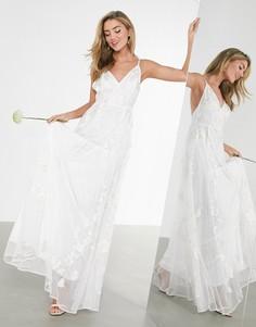 Свадебное платье на бретелях с вышивкой ASOS EDITION Isla-Белый