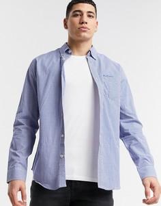 Рубашка в клетку с длинными рукавами Ben Sherman-Голубой