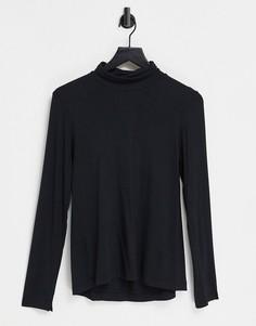 Черная кофта из джерси с высоким воротом и разрезами на манжетах French Connection-Черный цвет