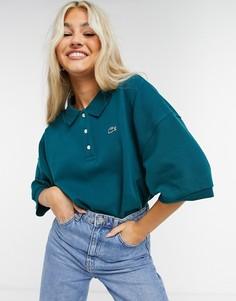 Зеленая классическая футболка-поло в стиле oversized Lacoste-Зеленый цвет