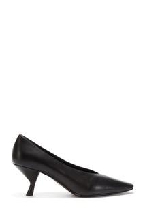 Черные кожаные туфли с каблуком-катушкой Prada