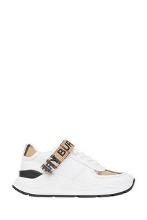 Белые кроссовки с клетчатой отделкой Burberry