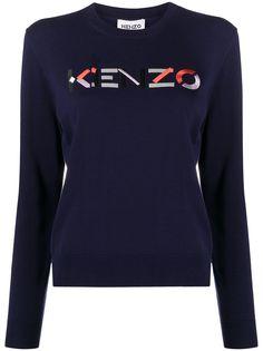 Kenzo джемпер с круглым вырезом и вышитым логотипом