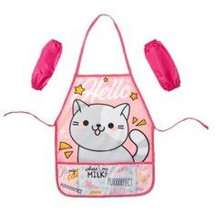 Collorista Фартук и нарукавники Hello cat (4372623) розовый/белый