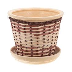 Горшок для цветов с поддоном Viet Thanh С плетеный коричневый/бежевый d26