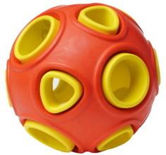 Развивающая игрушка для собак HOMEPET Silver Series мяч, красный, желтый, 7.5 см
