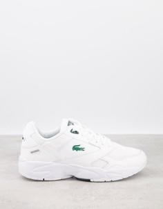 Бело-зеленые кроссовки Lacoste Storm 96-Белый