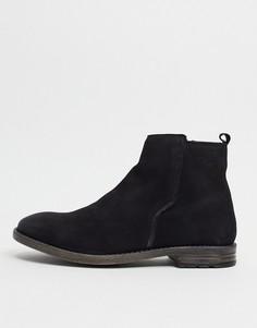 Черные кожаные ботинки челси в строгом стиле Dune-Черный цвет