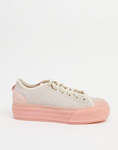 Розовые кроссовки с отделкой шерстью пони на платформе adidas Originals Nizza-Белый