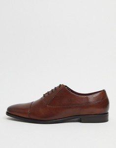 Коричневые кожаные туфли с круглым носком Walk London Alfie-Коричневый цвет