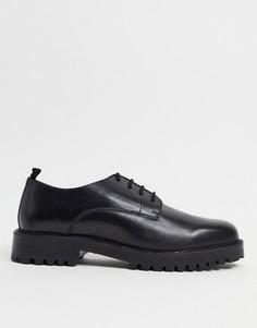 Черные кожаные туфли дерби на шнуровке Walk London Sean-Черный цвет