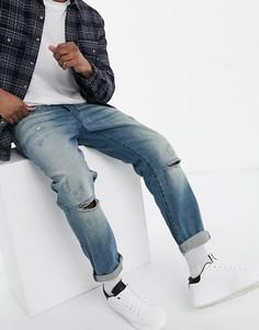Выбеленные джинсы зауженного кроя с рваной отделкой G-Star G-Bleid-Голубой