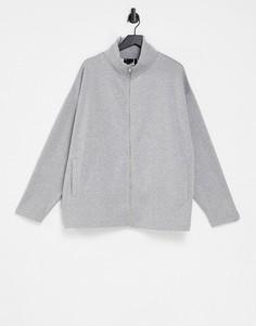 Серая меланжевая спортивная куртка в стиле oversized с воротом-трубой и массивной молнией ASOS DESIGN-Серый