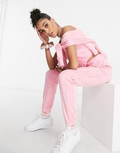 Ярко-розовые велюровые джоггеры adidas Originals Relaxed Risqué-Розовый цвет