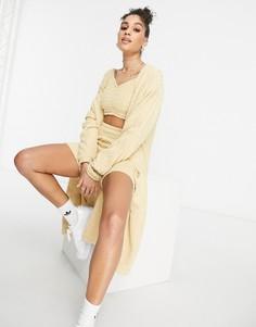 "Бежевый oversized-кардиган из пушистого трикотажа adidas Originals ""Relaxed Risqué"
