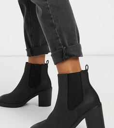 Черные ботинки челси на каблуке для широкой стопы New Look Wide Fit-Черный цвет