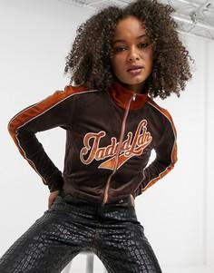 Укороченная велюровая куртка от спортивного костюма в стиле 90-х Jaded London-Коричневый цвет