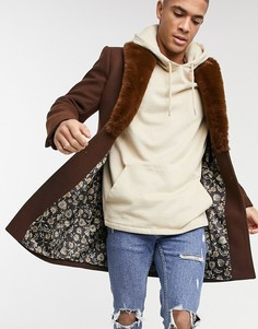 Пальто с воротником из искусственного меха Gianni Feraud-Коричневый цвет