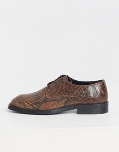 Кожаные туфли на шнуровке с квадратным носком и змеиным принтом ASOS DESIGN-Коричневый цвет