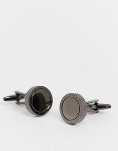Круглые запонки цвета оружейного металла с фактурными краями Moss London-Серебристый
