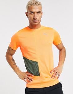 Оранжевая футболка с контрастной вставкой PUMA Running-Зеленый цвет
