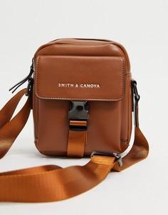 Светло-коричневая сумка через плечо с застежкой-зажимом спереди Smith & Canova-Светло-коричневый