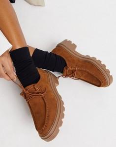 Бежевые туфли на шнуровке на плоской массивной подошве ASOS DESIGN Macy-Светло-коричневый
